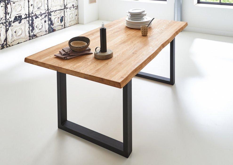 sam baumkantentisch massivholztisch baumkante esstisch esszimmertisch eiche ebay. Black Bedroom Furniture Sets. Home Design Ideas