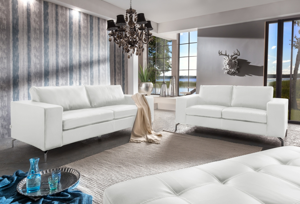 Sam Wohnlandschaft Couchgarnitur Gepolstert Leder Optik Sofa 2tlg